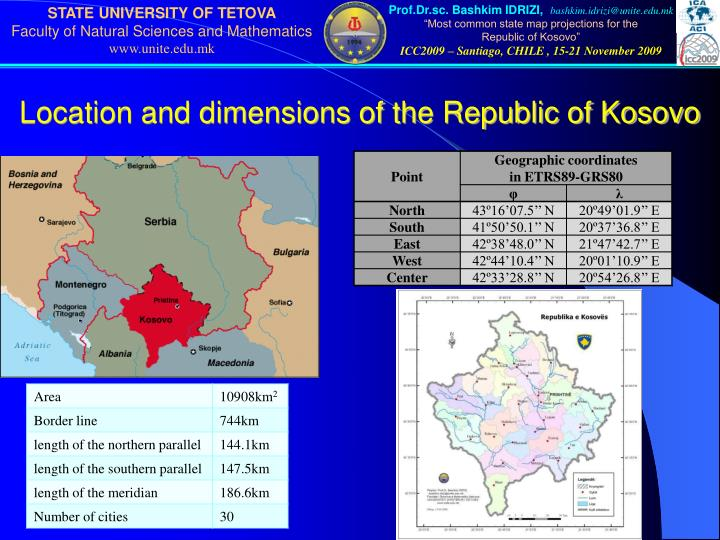 Location and dimensions of the Republic of Kosovo
