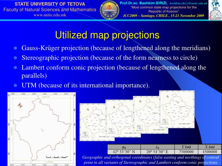 Utilized map projections