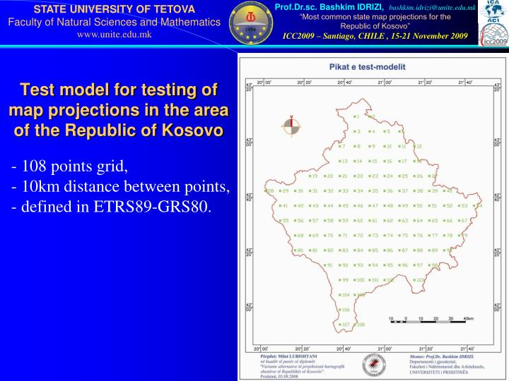 Test model for testing of map projections in the area of the Republic of Kosovo