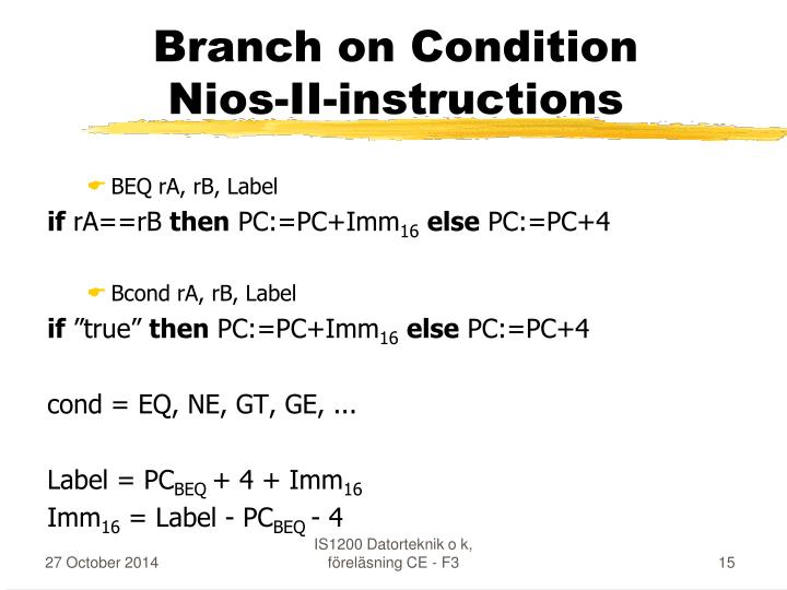 Branch on Condition