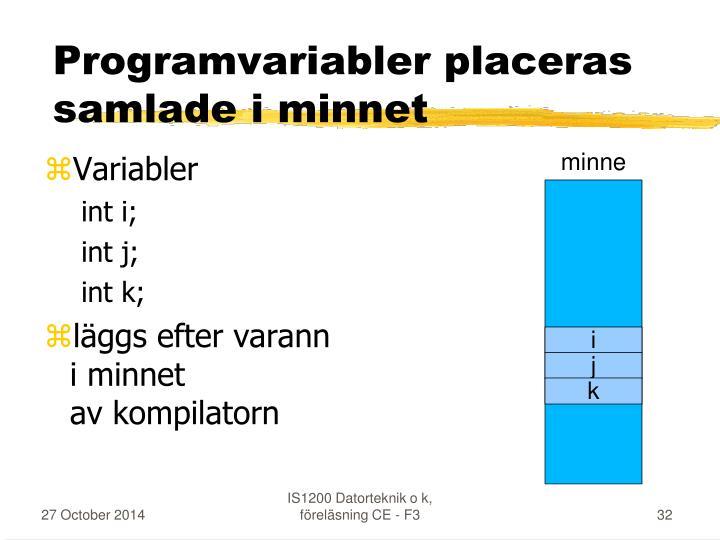 Programvariabler placeras