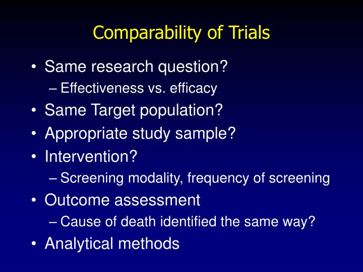 Comparability of Trials