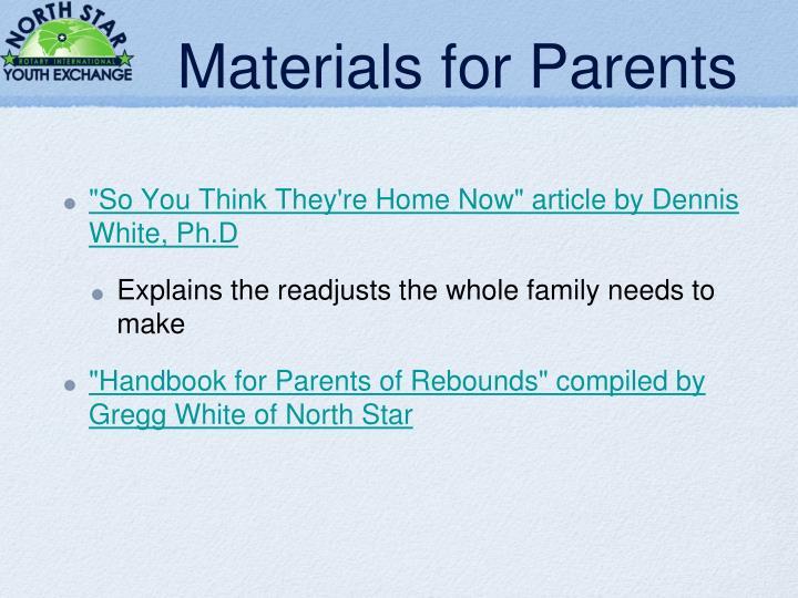 Materials for Parents