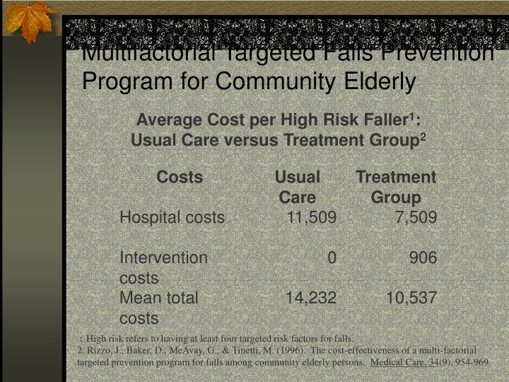 Average Cost per High Risk Faller
