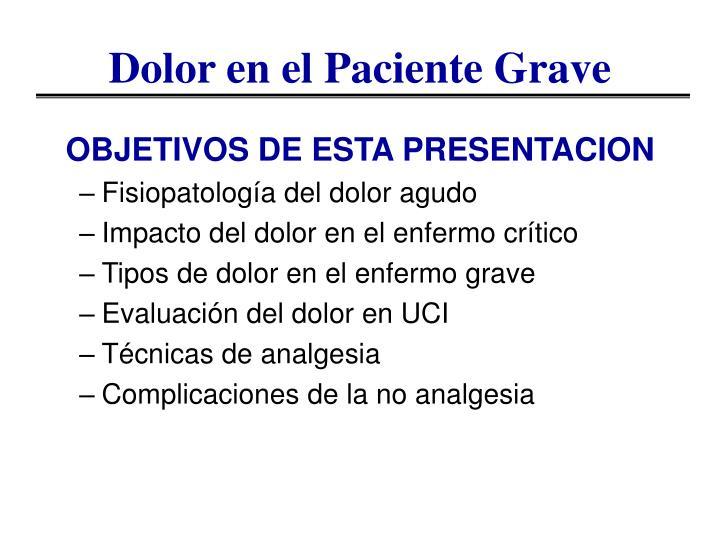 Dolor en el Paciente Grave