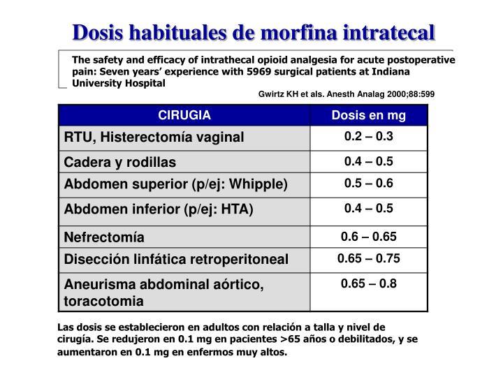 Dosis habituales de morfina intratecal