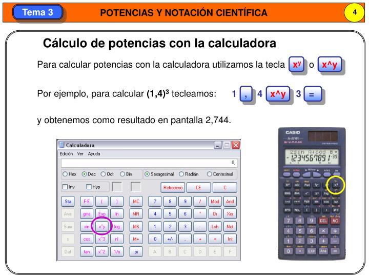 Para calcular potencias con la calculadora utilizamos la tecla