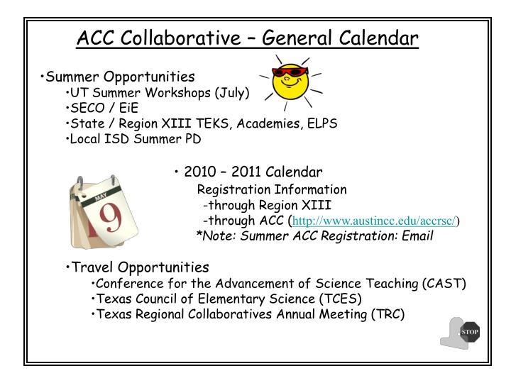 ACC Collaborative – General Calendar