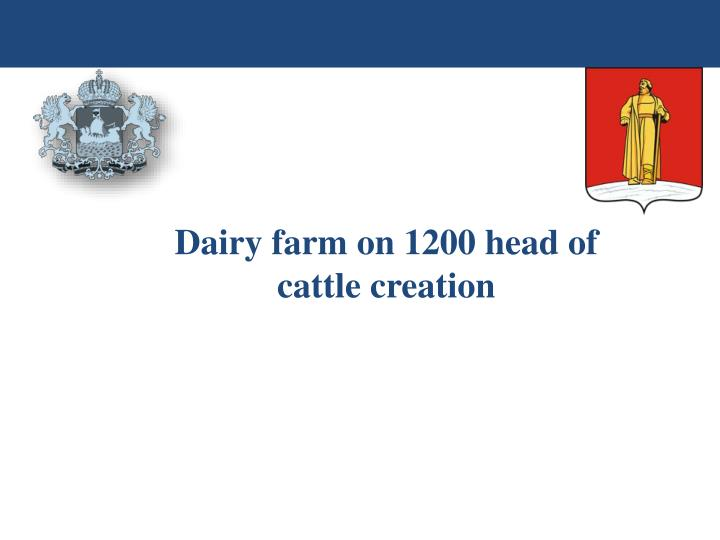 Dairy farm on 1200 head of cattle creation