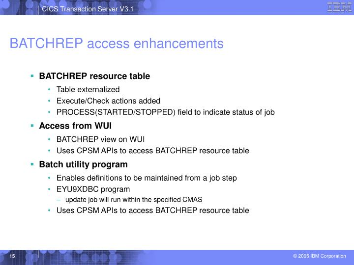 BATCHREP access enhancements