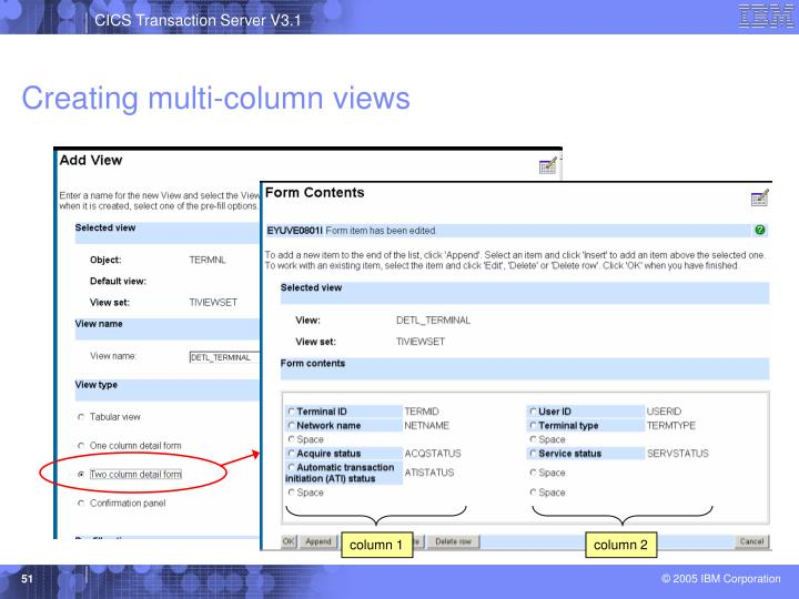 Creating multi-column views