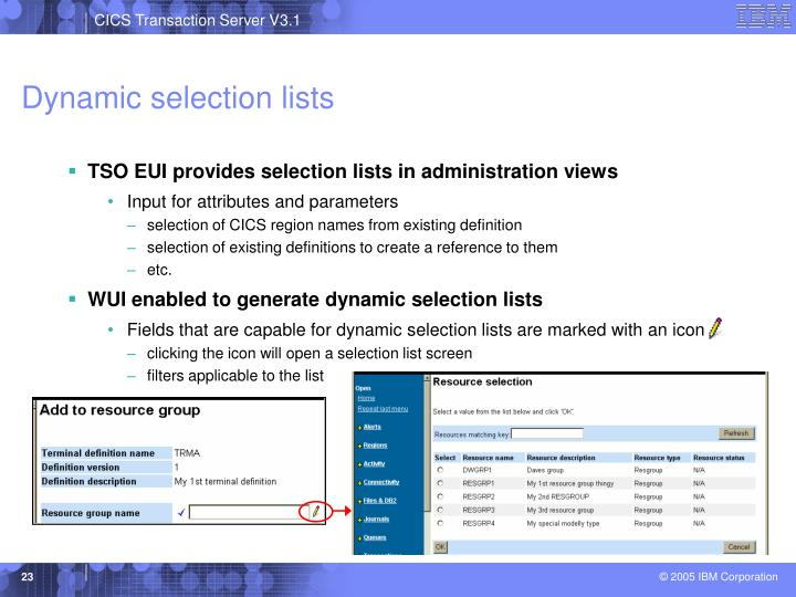 Dynamic selection lists