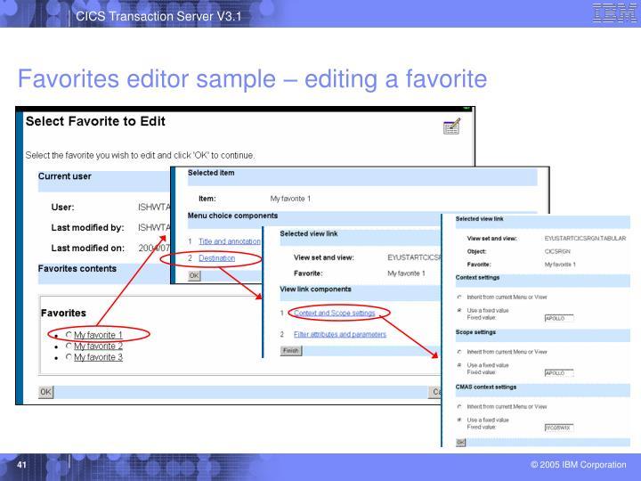 Favorites editor sample – editing a favorite