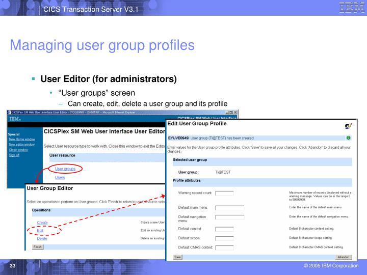 Managing user group profiles