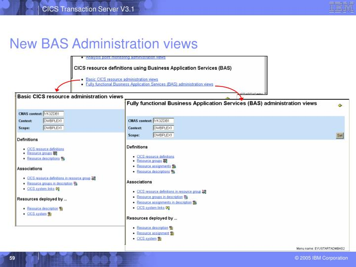 New BAS Administration views