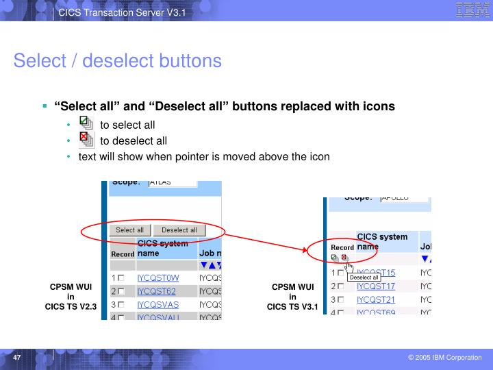 Select / deselect buttons