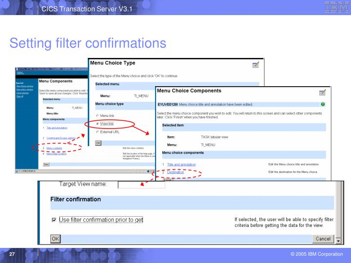 Setting filter confirmations