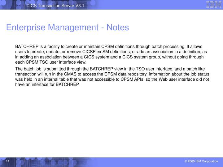 Enterprise Management - Notes