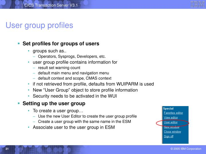 User group profiles