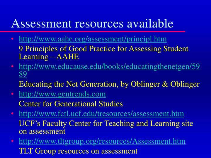 Assessment resources available