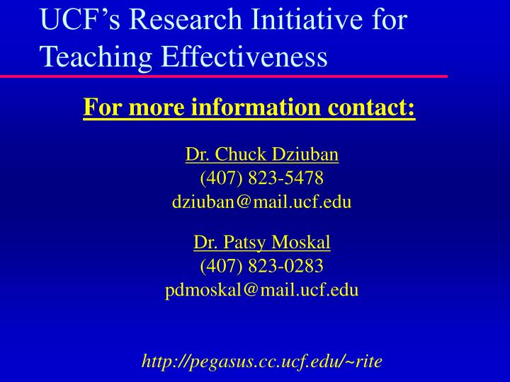 UCF's Research Initiative for Teaching Effectiveness