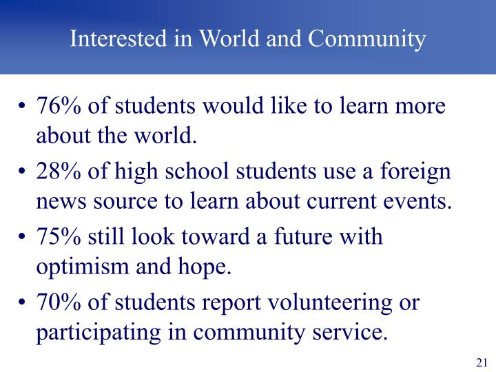 Interested in World and Community