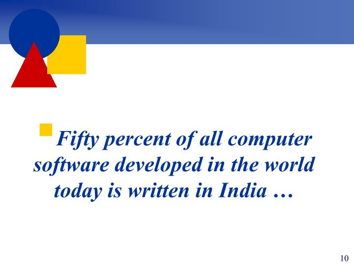 Fifty percent of all computer software developed in the world today is written in India …