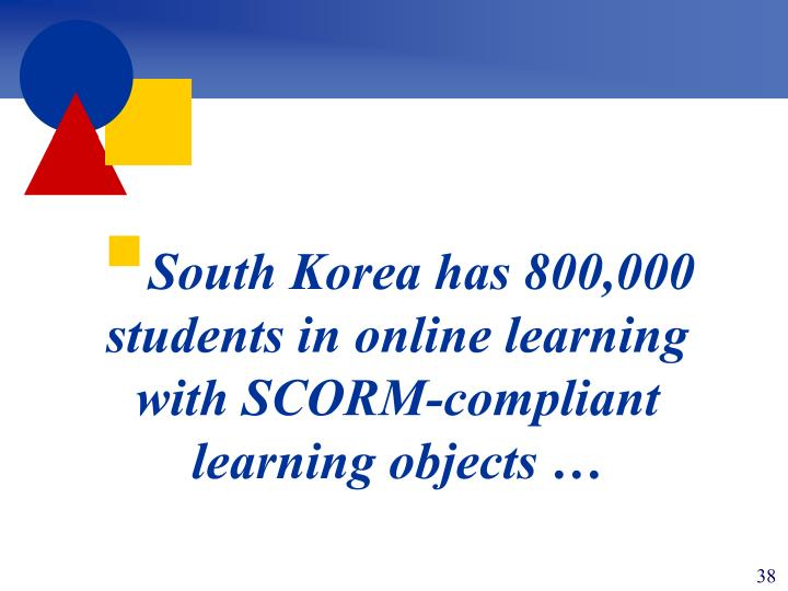 South Korea has 800,000 students in online learning with SCORM-compliant learning objects …