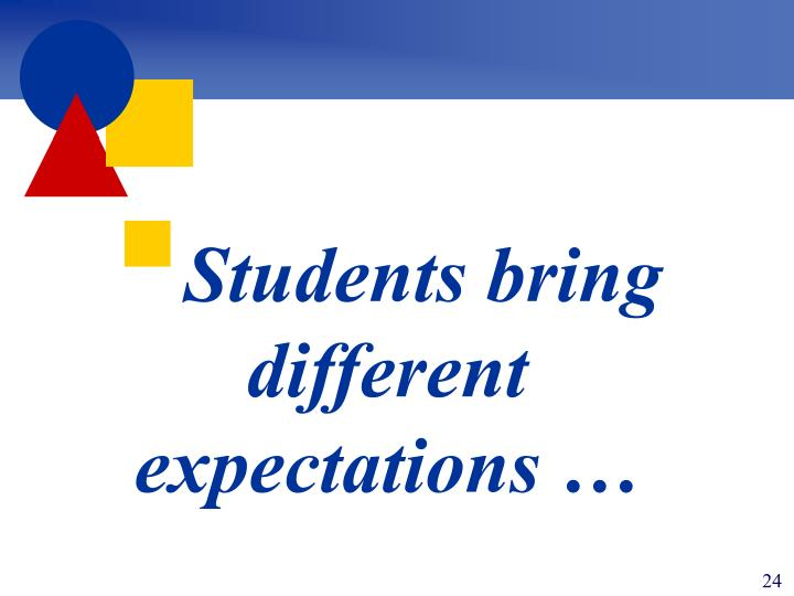 Students bring different