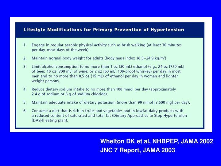 Whelton DK et al, NHBPEP, JAMA 2002