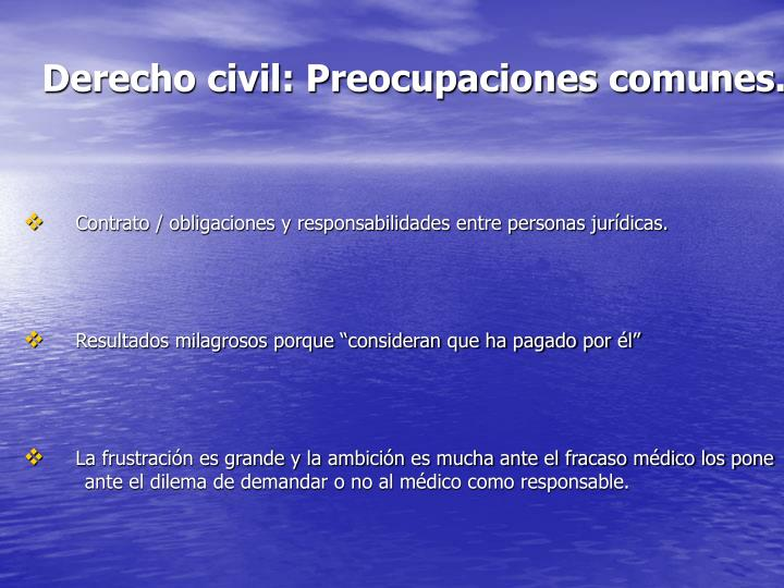 Derecho civil: Preocupaciones comunes.