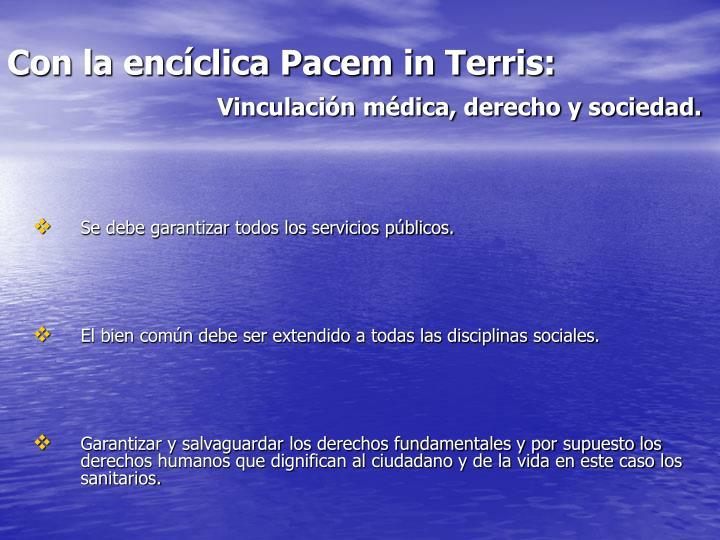 Con la encíclica Pacem in Terris: