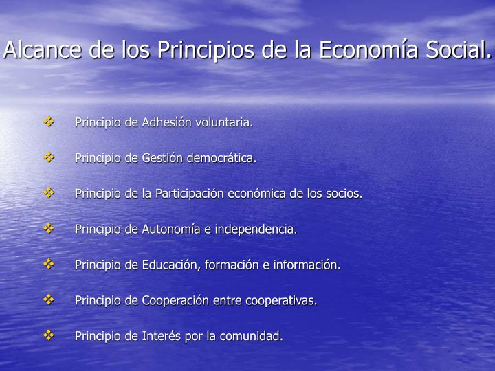 Alcance de los Principios de la Economía Social.