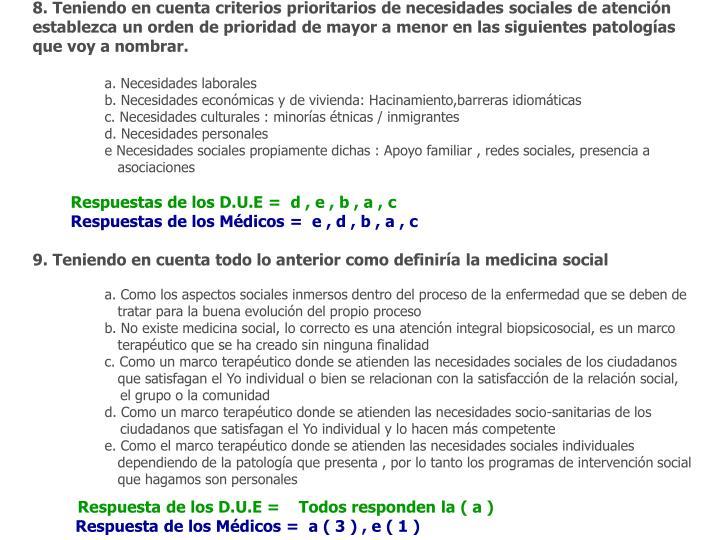 8. Teniendo en cuenta criterios prioritarios de necesidades sociales de atención establezca un orden de prioridad de mayor a menor en las siguientes patologías que voy a nombrar.