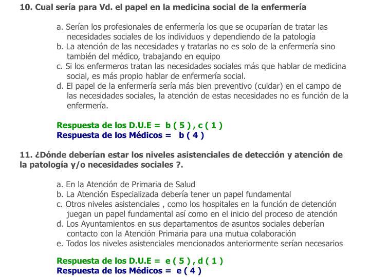 10. Cual sería para Vd. el papel en la medicina social de la enfermería