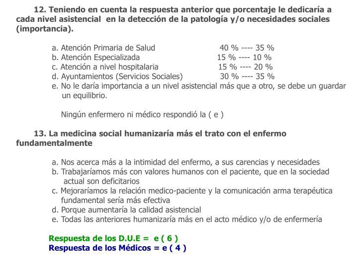 12. Teniendo en cuenta la respuesta anterior que porcentaje le dedicaría a cada nivel asistencial  en la detección de la patología y/o necesidades sociales (importancia).