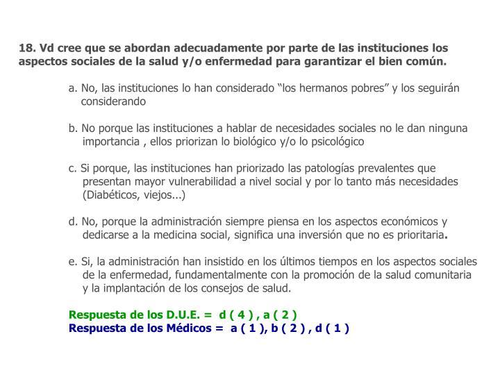 18. Vd cree que se abordan adecuadamente por parte de las instituciones los aspectos sociales de la salud y/o enfermedad para garantizar el bien común.