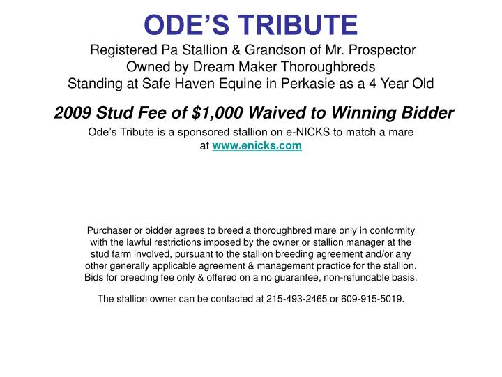 ODE'S TRIBUTE