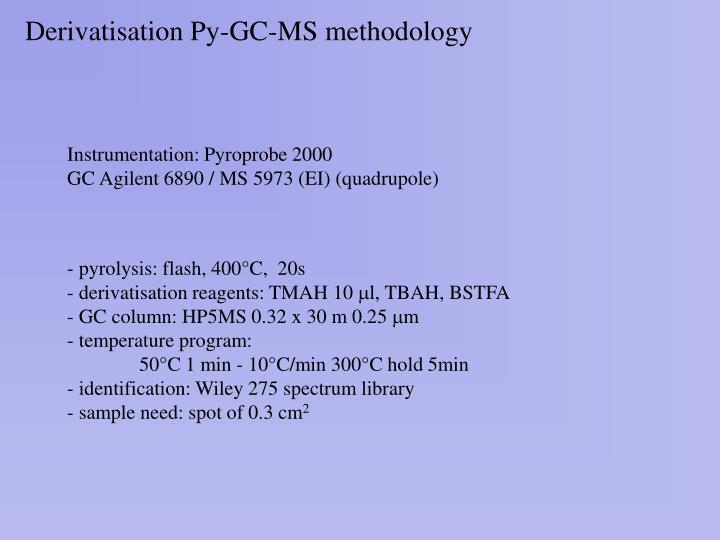 Derivatisation py gc ms methodology