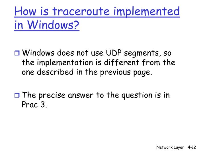 How is traceroute implemented in Windows?