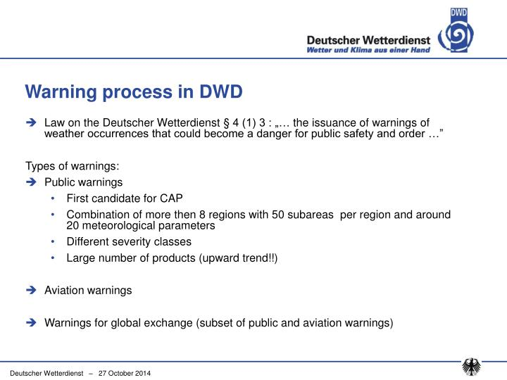 Warning process in DWD