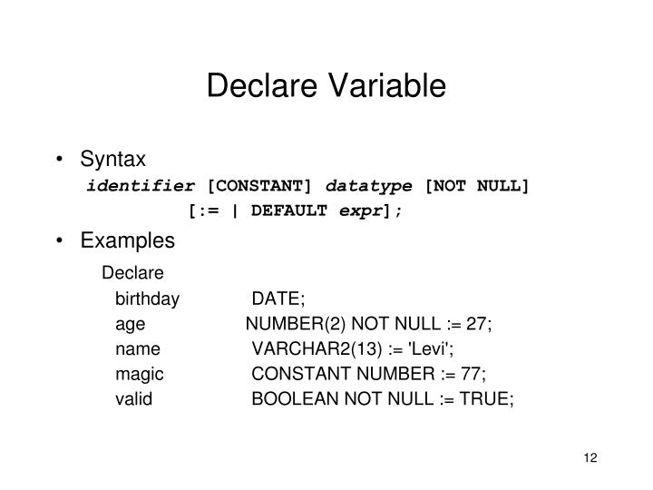 Declare Variable