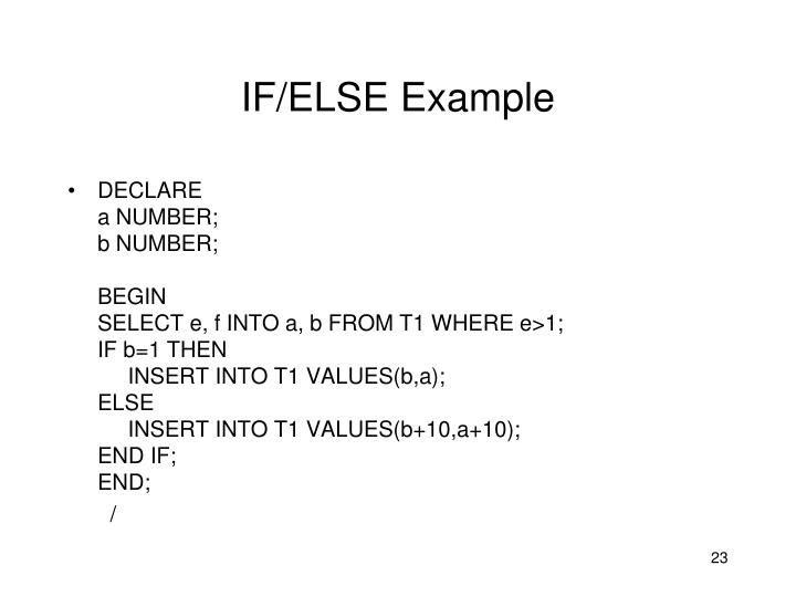 IF/ELSE Example