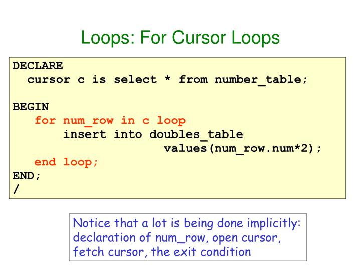 Loops: For Cursor Loops