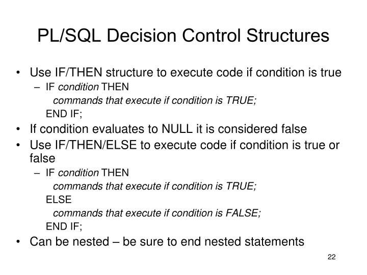 PL/SQL Decision Control Structures