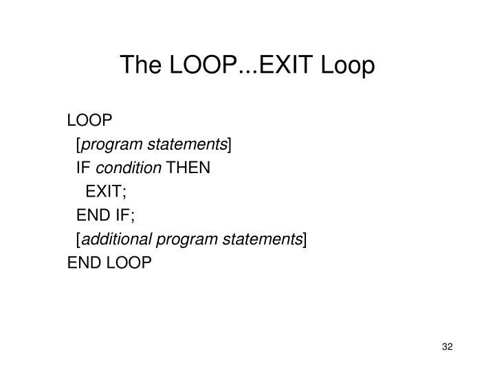 The LOOP...EXIT Loop