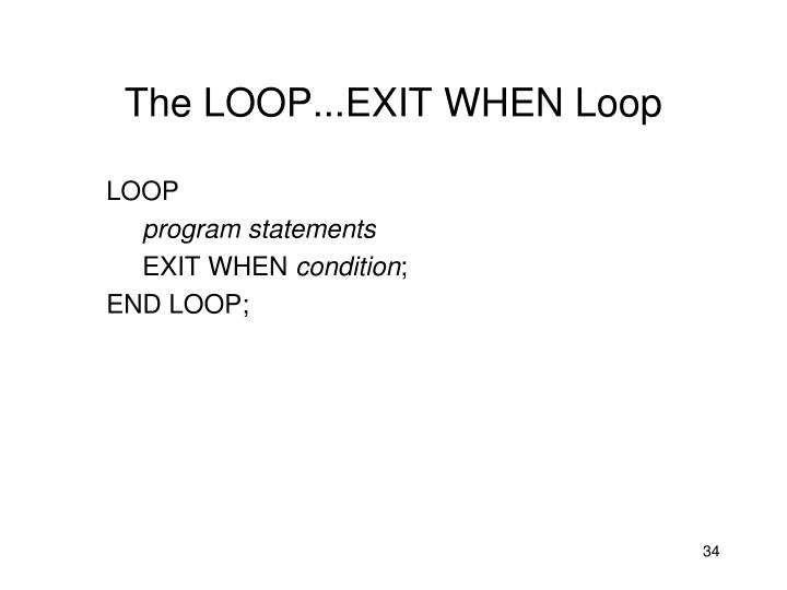 The LOOP...EXIT WHEN Loop