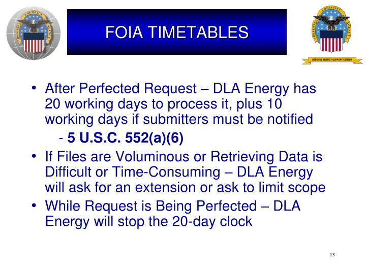 FOIA TIMETABLES
