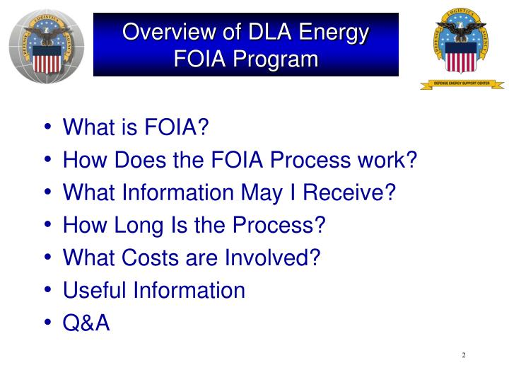 Overview of dla energy foia program