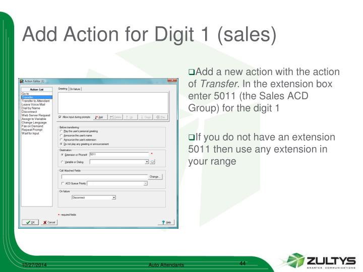 Add Action for Digit 1 (sales)